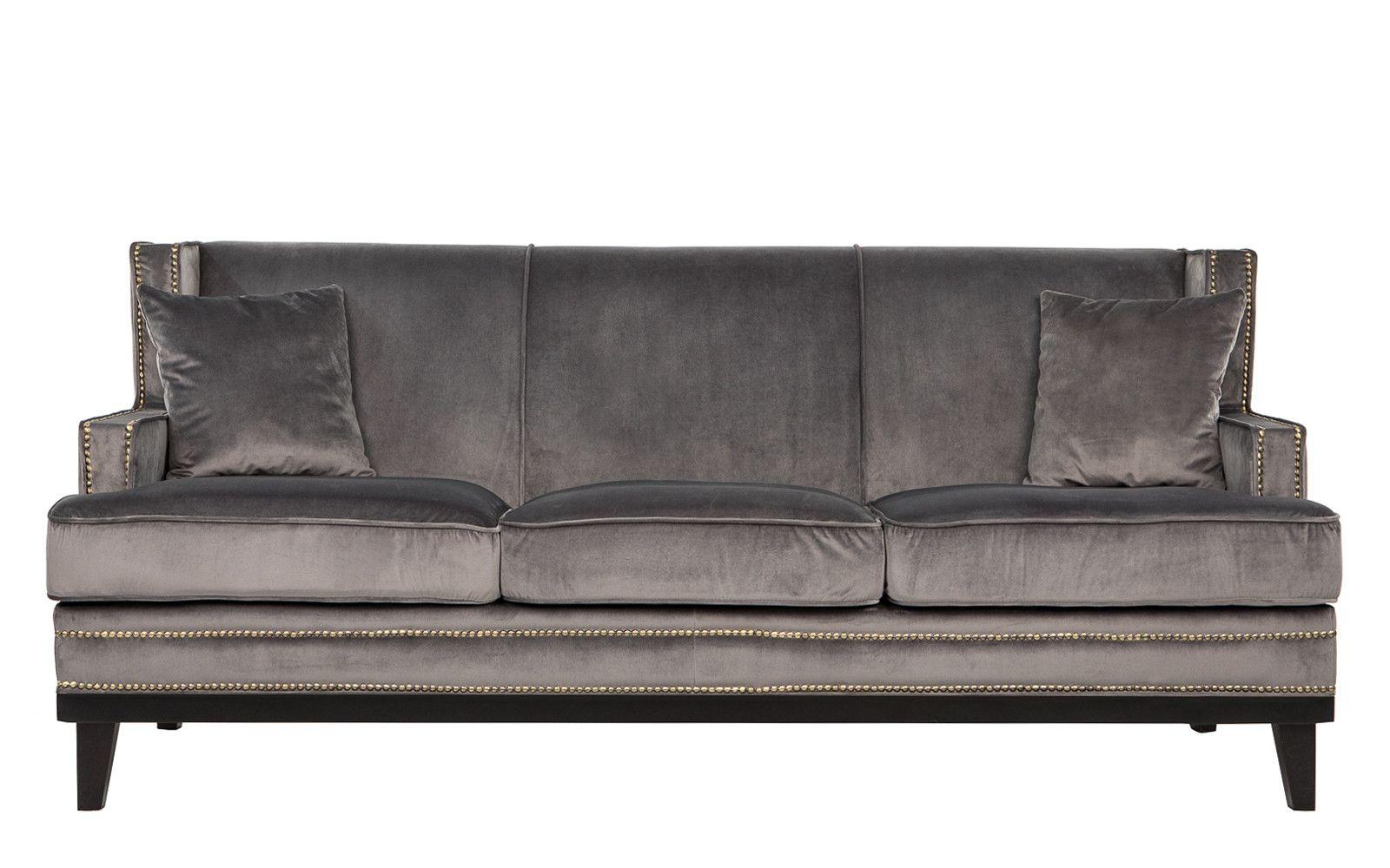 Abe modern nailhead trim velvet sofa