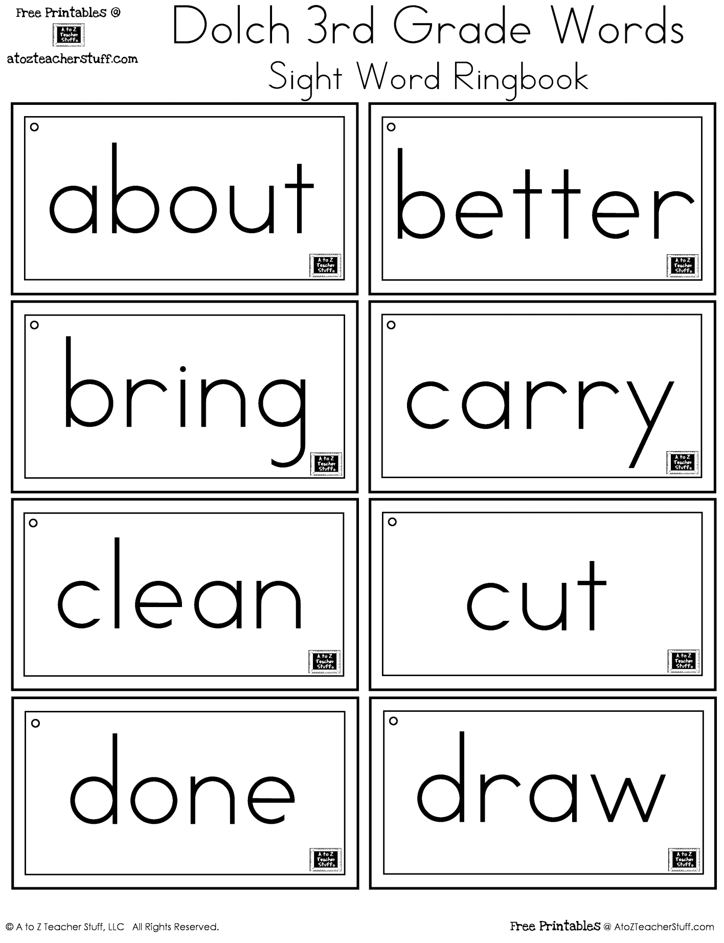 3rd Grade Dolch Words Sight Word Ringbook