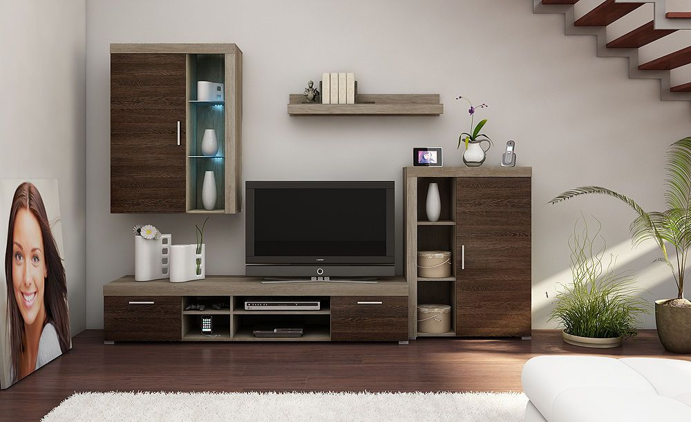 Tv Wall Unit Tom Ii New Modern Set Of Living Room Furniture Grey Arusha Wenge In Home Diy Entertainment Stands Ebay
