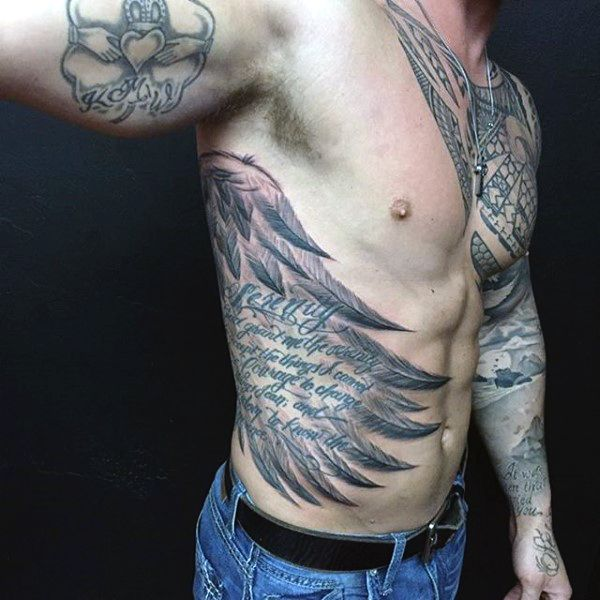 Rib cage side wings tattoos for men tattoo pinterest for Men side tattoo