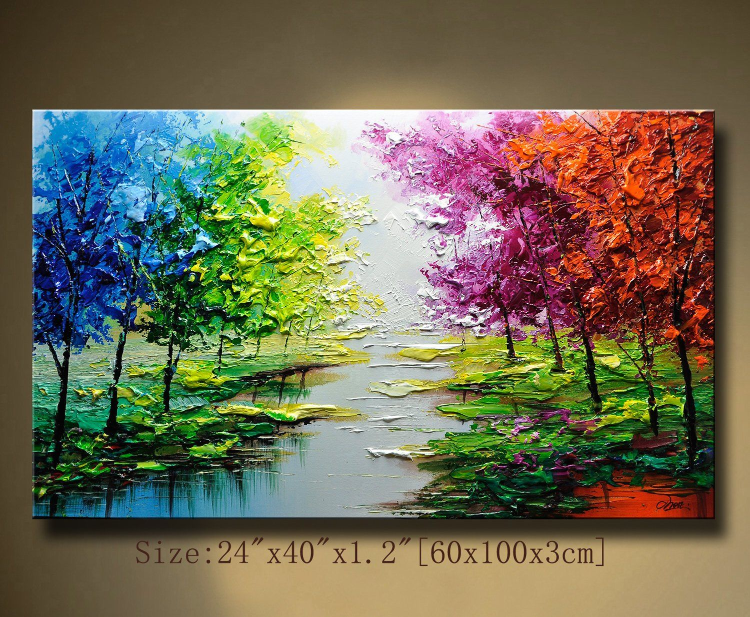 Contemporary Wall Artpalette Knife Paintingcolorful Etsy Abstract Wall Painting Colorful Landscape Paintings Texture Painting On Canvas