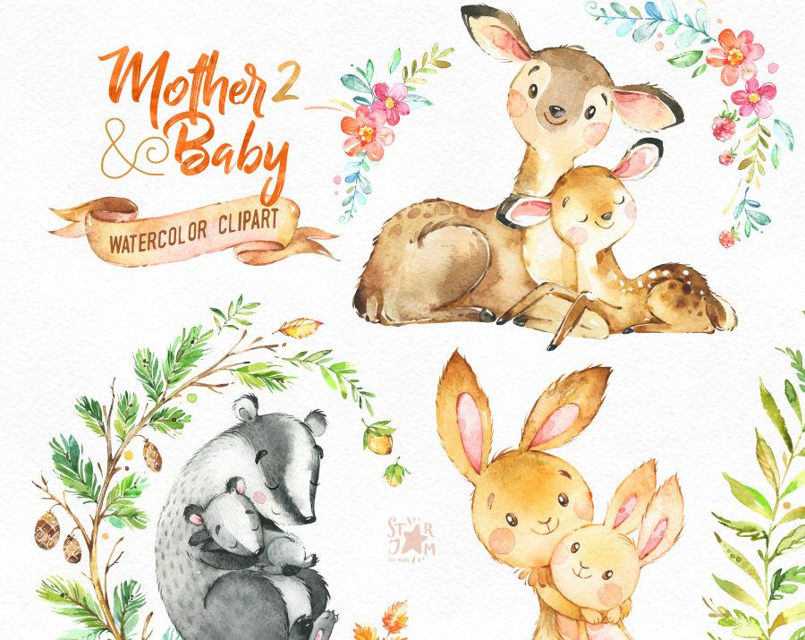Mother Baby 2 Watercolor Animals Clipart Deer Rabbit Badger Greeting Mothers Day Invite Floral Wreath Card Berries Baby Shower Watercolor Animals Animal Clipart Clip Art
