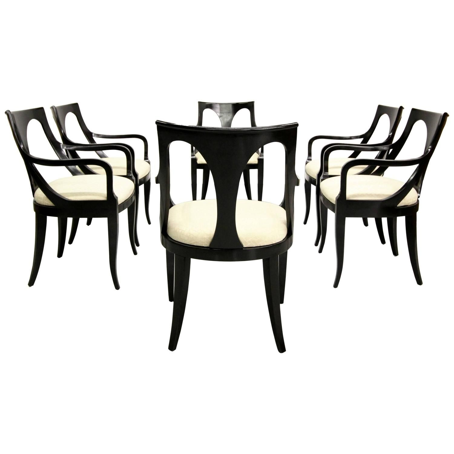 Set Of Six Black Mid Century Modern Dining Chairs By Kindel