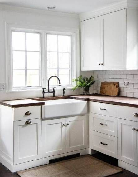 57+ Ideas Kitchen White Shaker Cabinets Butcher Blocks #whiteshakercabinets