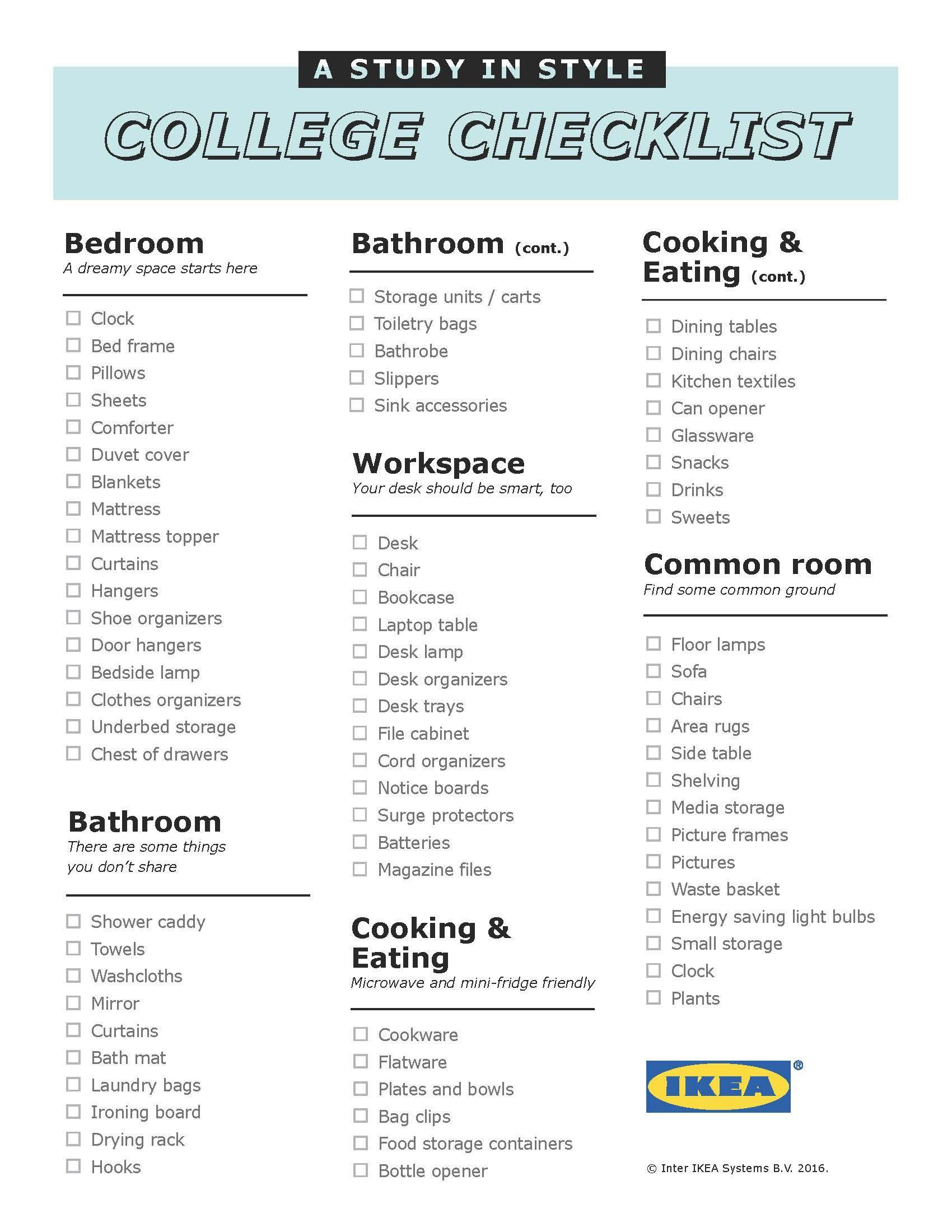 Dorm Room Checklist, College Checklist, First Apartment, College Life,  Colleges, Ikea, 1st Apartment, Dorm Checklist, Ikea Ikea