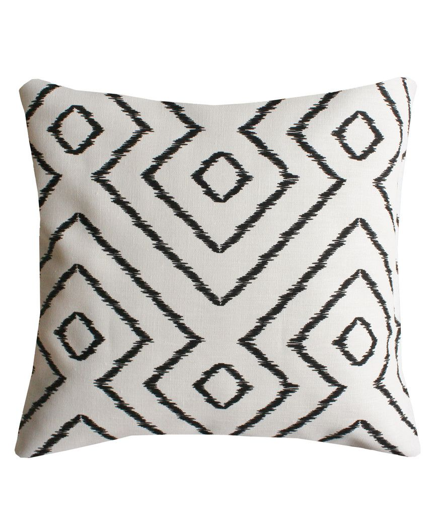 Linen Diamond Throw Pillow, Black