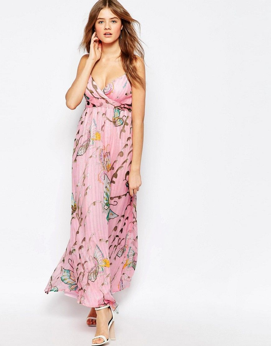 Buy it now. Traffic People Silk Cami Maxi Dress In Floral Butterfly ...