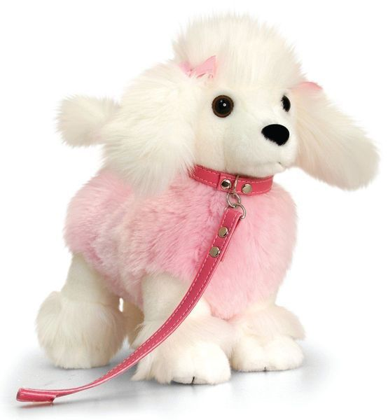 Poodle Pink White Soft Plush Toy With Lead Lil Pups By Keel Toys