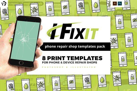 Phone Repair Shop Templates Pack Phone Repair Poster Template Trifold Brochure Template