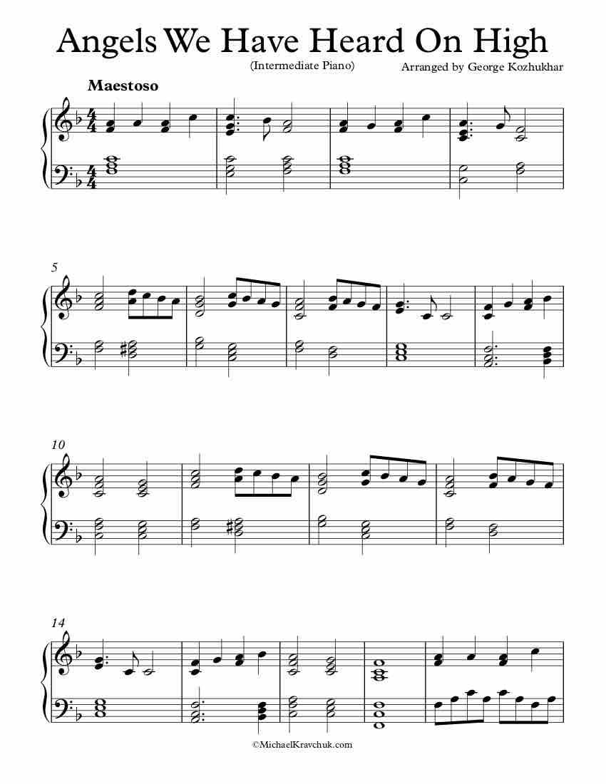 Intermediate Piano Arrangement Sheet Music Angels We Have Heard