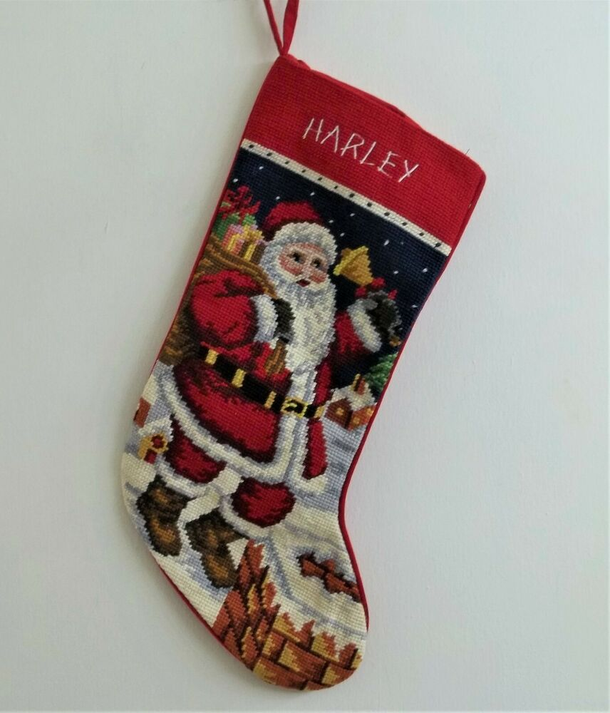 Harley personalized needlepoint santa claus stocking