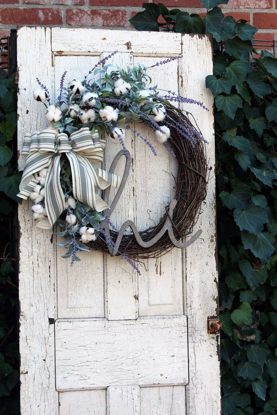 Photo of Farmhouse Wreath, Front Door wreath with Cotton, Year Round wreath, Rustic Cotton & Lavender …