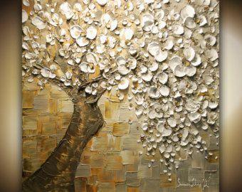 ORIGINAL ART tree painting landscape cherry by ModernHouseArt