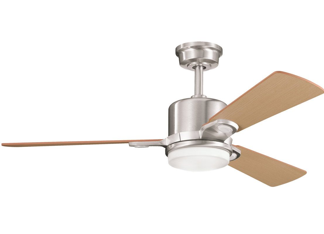 Kichler 300017bss Brushed Stainless Steel 48 Indoor Ceiling Fan With 3 Blades Includes Cool Touch Remo Modern Ceiling Fan Ceiling Fan With Light Ceiling Fan