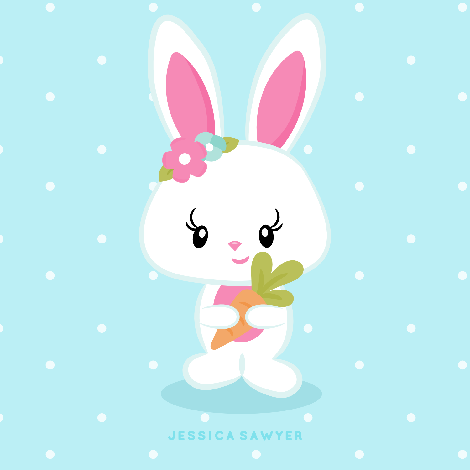Easter bunny kawaii. Instant download clipart and