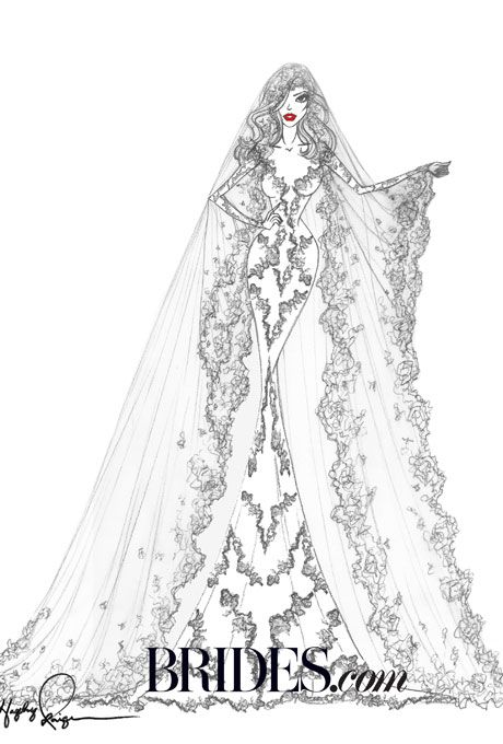 Brides Kim Kardashian S Wedding Dress Fantasy Designer Sketches Hayley Paige Unlike