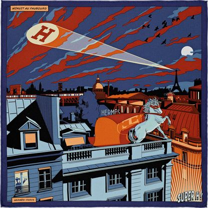 Minuit au Faubourg Silk twill pocket square in 100% silk (45 x 45 cm) Color : midnight blue/lavender/orange Ref. : H892820S 05 Skr1,450.00