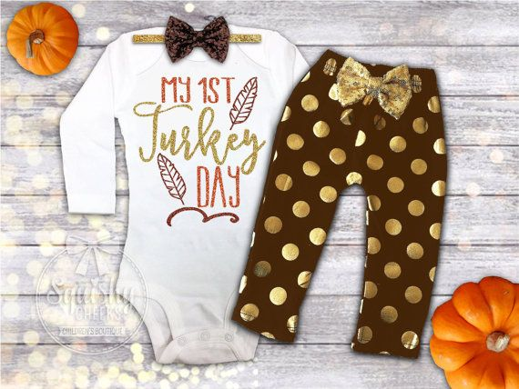 Baby Girls 4 Bodysuits Size 3 6 9 Months 1st Thanksgiving Xmas New Year Holiday
