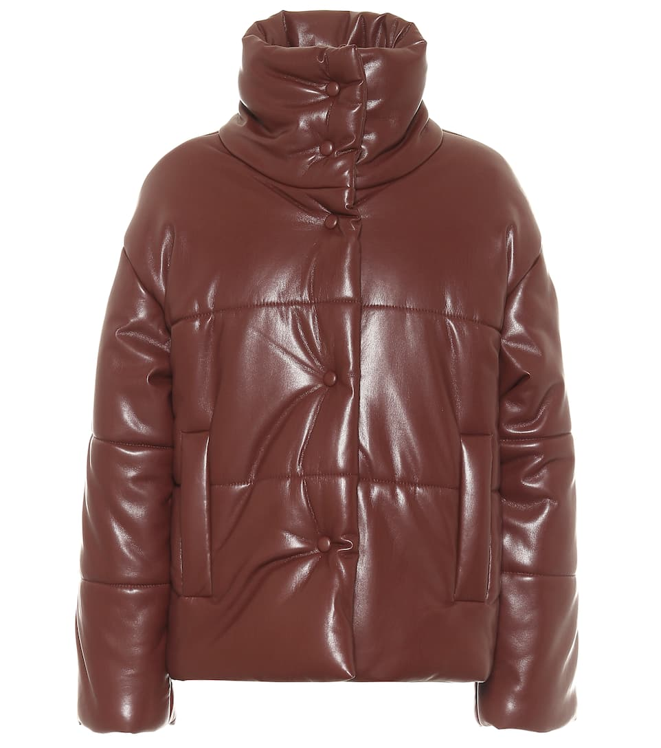 Hide Faux Leather Puffer Jacket Nanushka Leather Leather Outfit [ 1088 x 962 Pixel ]