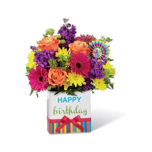 Viva The Vivid Birthday Flower Bouquet ($40) ❤ liked on Polyvore ...