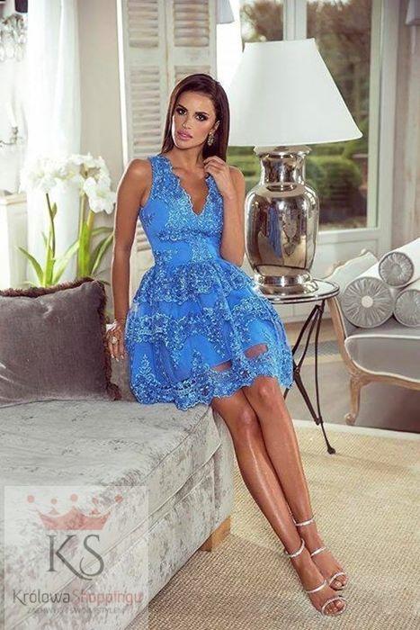 Rozkloszowana Koronkowa Sukienka Niebieska Fashion4u Pl Sukienka Sukienki Sukienkanawesele Ko Cocktail Dress Prom Beautiful Prom Dresses Blue Ball Gowns