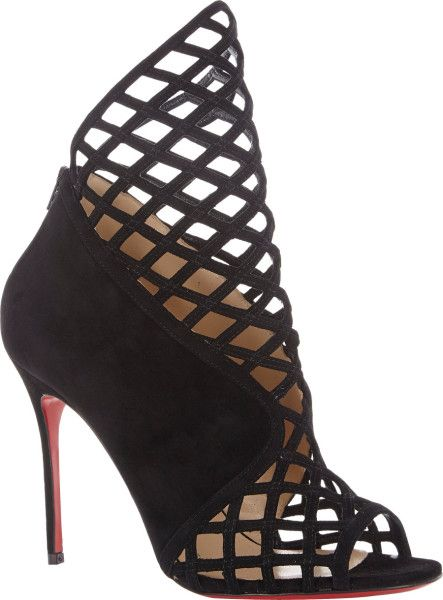 7c25dcd831f Christian Louboutin Bougliona Ankle Boots in Black - Cut-out cage ...