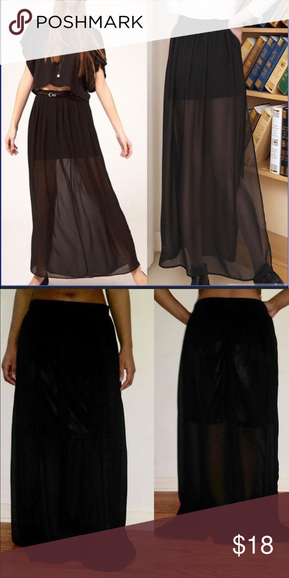 67d25f4b51bcb7 Forever 21 Black Long, Sheer Maxi Skirt, Size L In excellent, like new  condition. Size large but fits like a medium. Zip up closure.