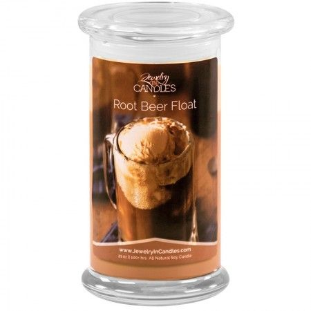 Frothy Root Beer with hints of clove and star anise with base notes of vanilla bean and caramelized sugar.  Infused with natural essential oils.  Full size 21oz scented candle  100% all natural Soy candle   Burns for 100 to 150 hours.   Includes a surprise piece of jewelry in every candle.        Looking for candles with rings and other hidden jewelry? Try Jewelry In Candles!