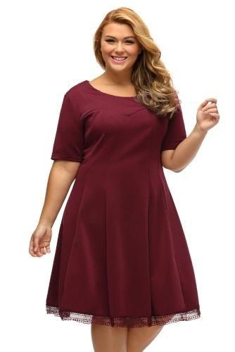 2017 Autumn Women Night Club Plus Size Dress Black Burgundy V Back Lace  Hemline Curvy Skater Dress for Big Girl Vestido 0bc4d0772