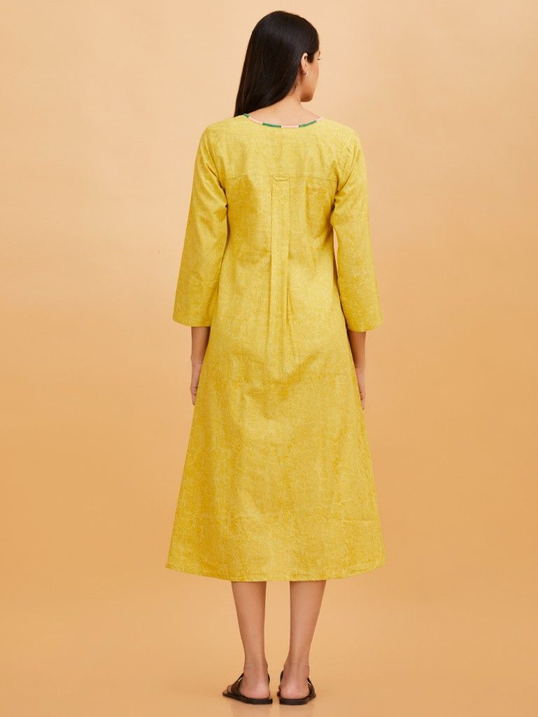 95a649105ea8 Buy Yellow Hand Block Printed Cotton Dress online at Theloom