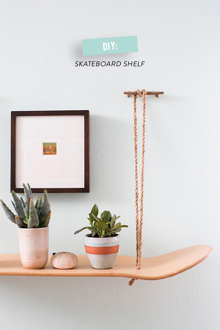 DIY Skateboard shelf. #diy, #home-decor, #shelf, #skateboard  Photography: Scott Clark Photo - scottclarkphoto.com/  Read More: http://www.stylemepretty.com/living/2014/08/06/diy-skateboard-shelf/