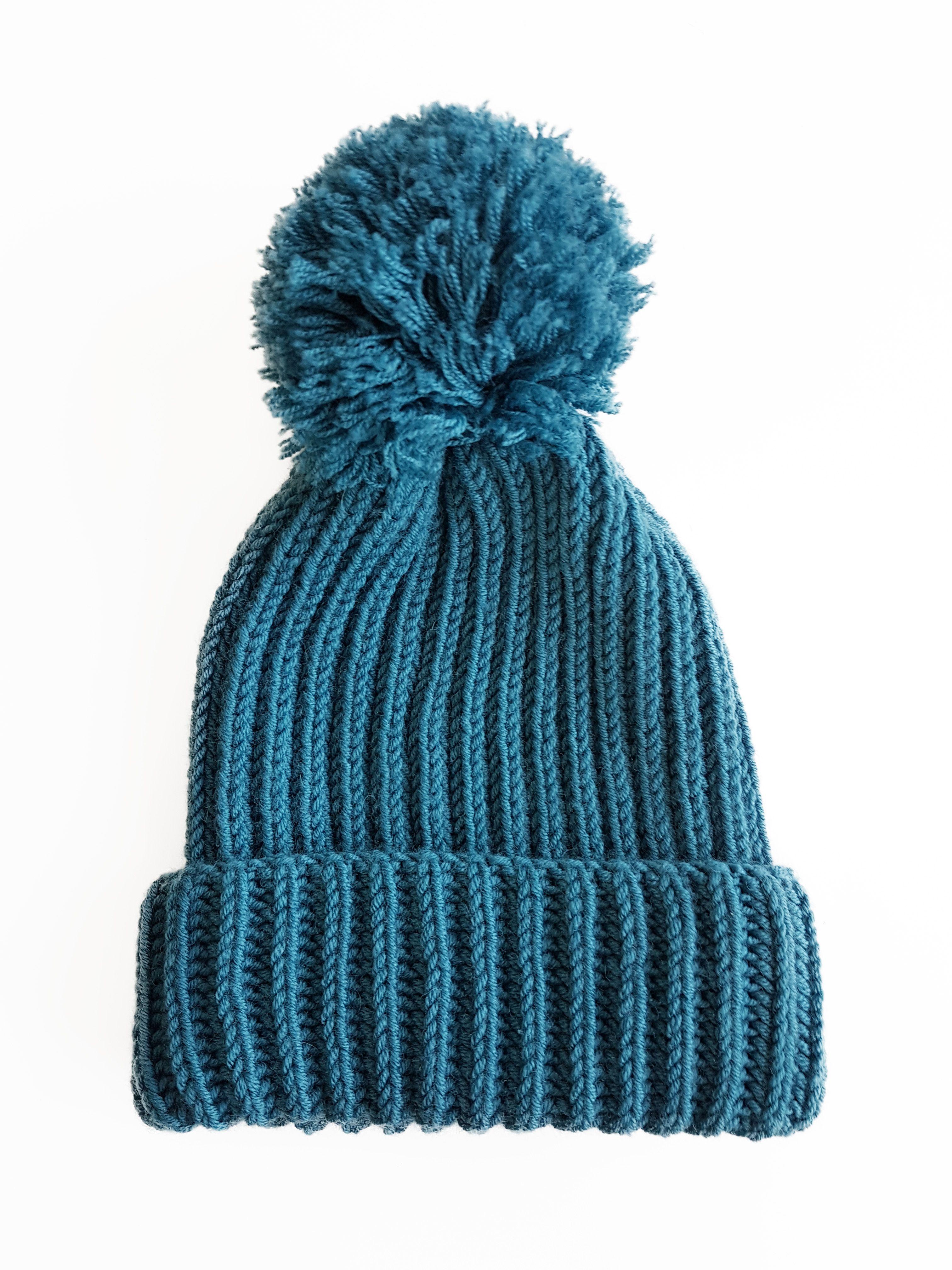 Hand Knitted Girls Autumn Spring Merino Wool Hat Child Knit Pompon Beanie