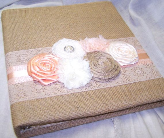 Burlap WEDDING GUEST BOOK with Photo Spot - Burlap and Lace, Peach, Blush, Ivory Lace, Shabby Chic Flower, Custom colors available