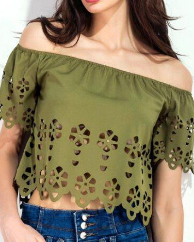 ffd9d28cf6f97 Hollow cut out off the shoulder tops cropped t shirt for teenage girls