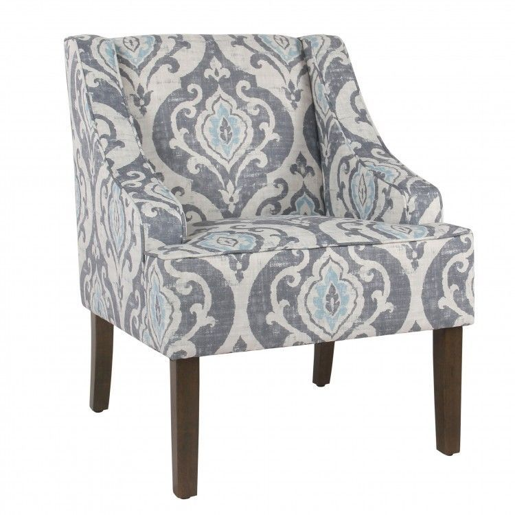 Pattern Accent Chair Damask Grey Blue Upholstery Living Room Furniture Swoop Arm Homepop Shabbychicfrenchcountry Homepop Wooden Accent Chair Accent Chairs