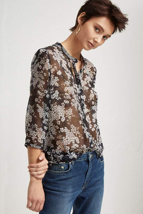 4772430900aa1 French Connection Rishiri Crinkle Collarless Shirt | Products ...