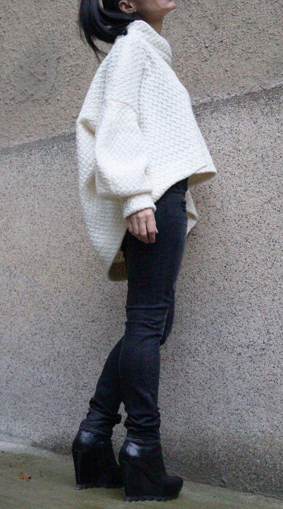 Off White Asymmetrical Sweater/Cozy Sweater /Knitwear/Long Women Knitted Sweater /Loose Plus Size Sweater/Maxi Blouse by FloAtelier F1502