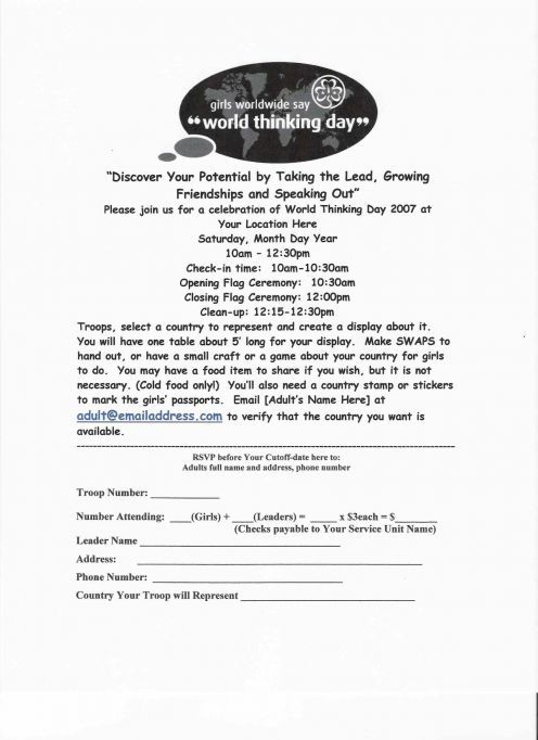Girl Scouts World Thinking Day Event Planning  Service Projects