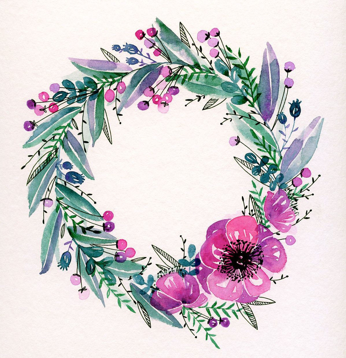 Watercolor Aquarelle Illustration Hygge Flowers Couronne