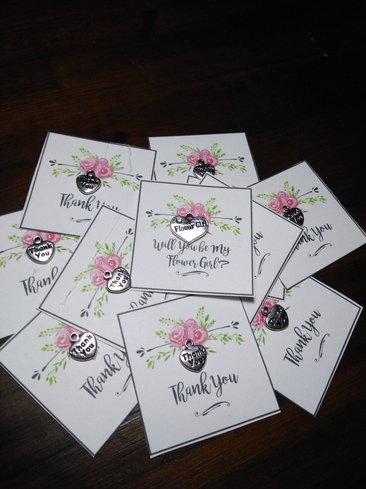 6 Wedding Bridesmaids Thank You Small Gift Card With A Small Charm Small Thank You Gift Bridesmaid Thank You Wedding Tree Guest Book