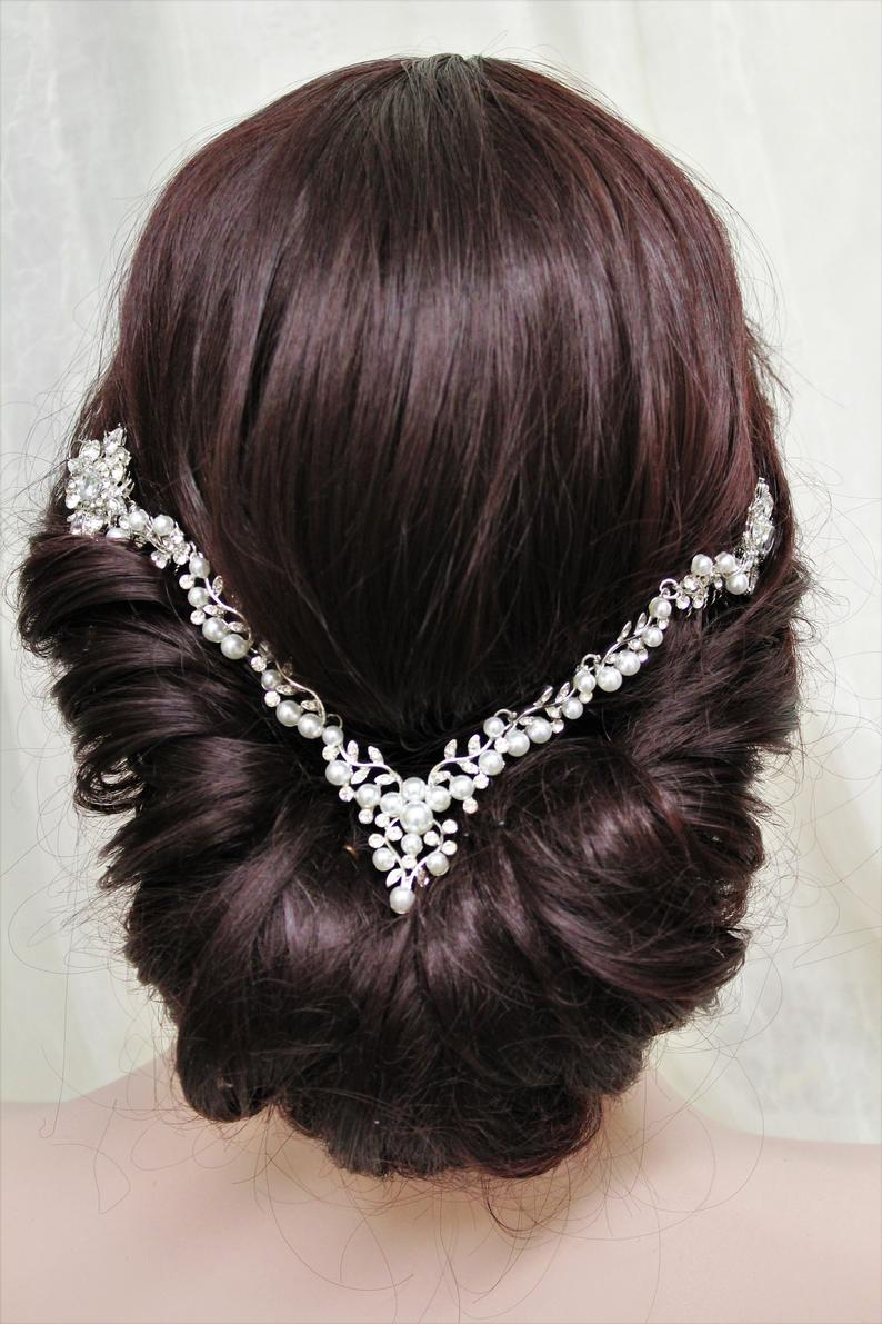 Art Deco Hair Chain,Wedding hair chain Bridal hair comb, Crystal And Pearl Hair Piece , Back Headpiece, Wedding Hair Accessories, Prom ,UK #hairchains
