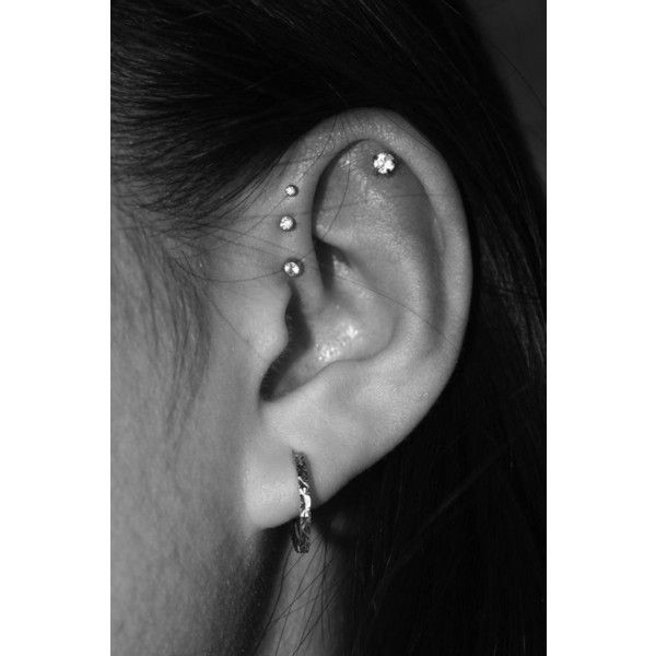 50 unique and beautiful ear piercing ideas, from minimalist studs to... ❤ liked on Polyvore featuring accessories