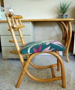 Vintage 1950s Rattan Desk and Matching Chair