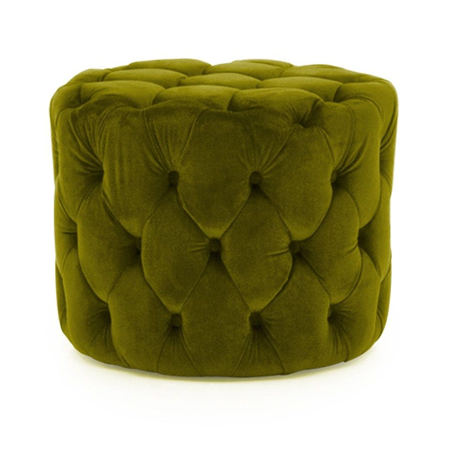 Astonishing Perkins Round Tufted Pouf Footstool In Velvet Moss Green Machost Co Dining Chair Design Ideas Machostcouk
