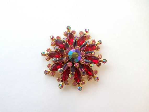 Red Rhinestone Brooch Pin Large Gold Red Aurora by EdnaCatherine