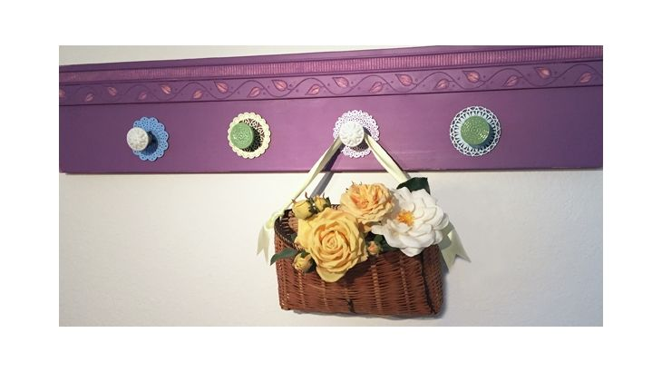 Trim patterns and varying shapes create a cottage influence on this functional hanging rack. Rich matte color with easy-to-use, fast-drying übermatte WISTERIA adds a fresh take to a perennial style.
