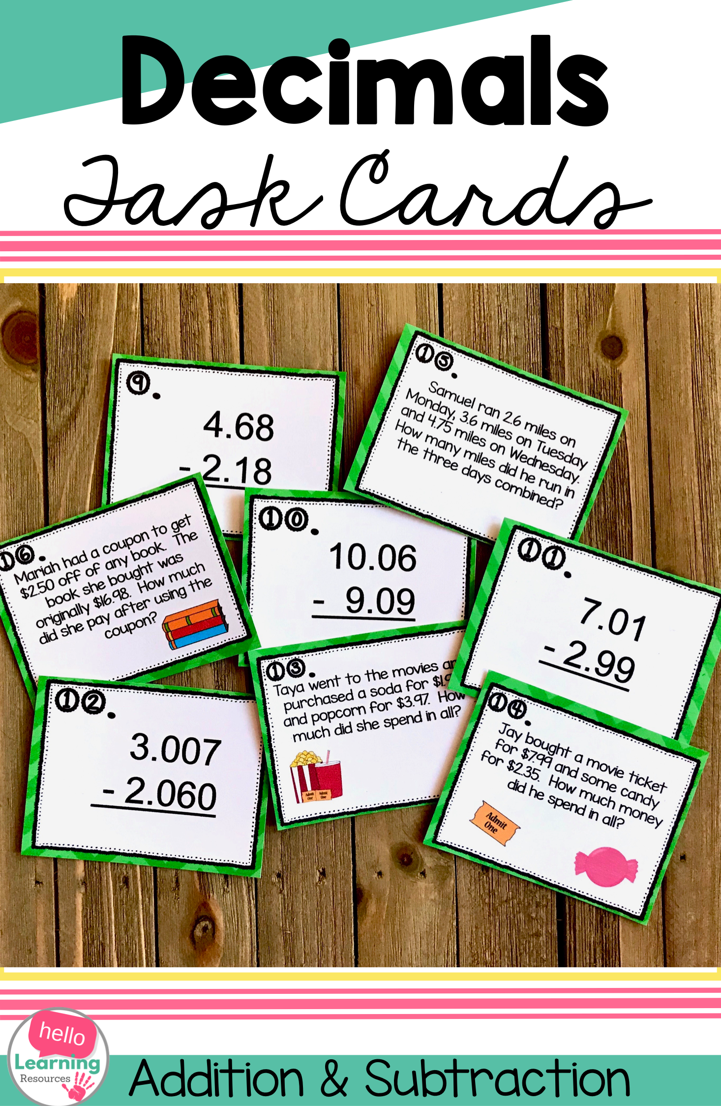 Add And Subtract Decimals Task Cards Set Of 18 With