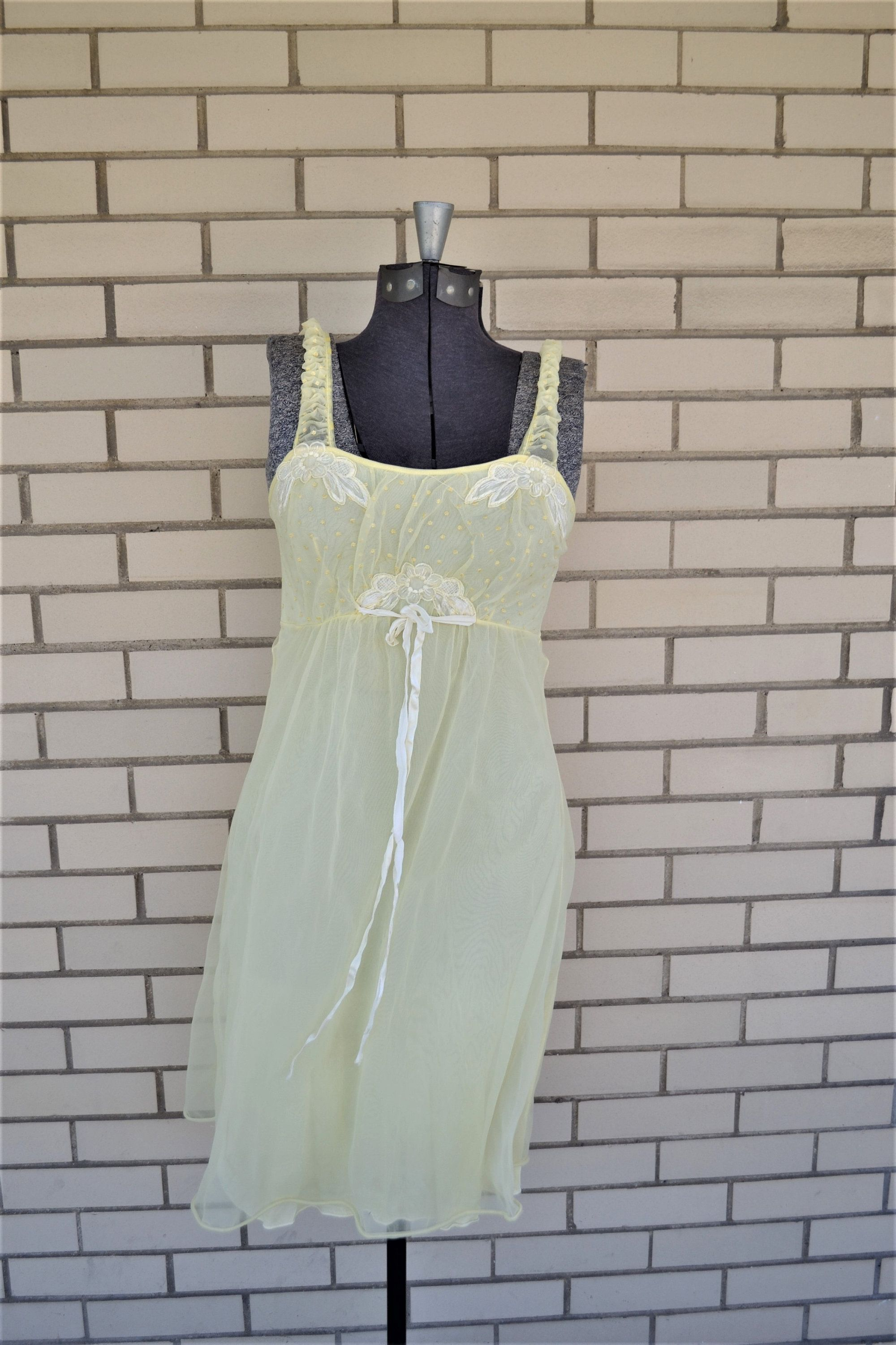 1b90e574f57ac 60s Fluffy Yellow Nightie, Vintage Nightgown Empire Waist, 1960s sheer  nightie with floral appliques and swiss polka dots by strangewaysvintage on  Etsy
