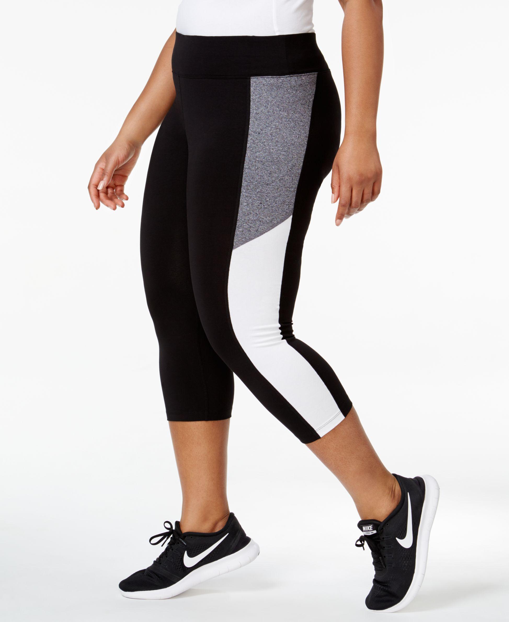 8ace121a388 Calvin Klein Performance Plus Size Colorblocked Capri Leggings ...
