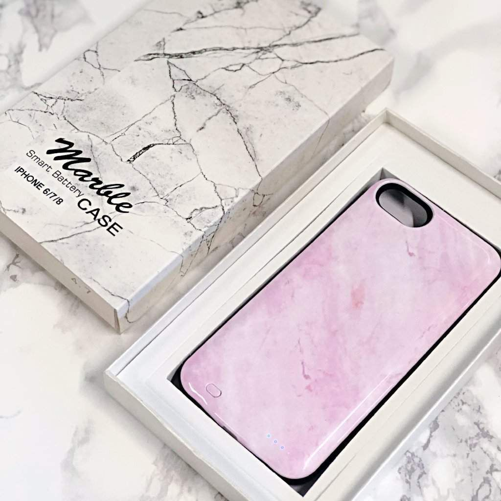 huge discount f3da3 6fb5c Pink Marble Battery-Powered Charging Case in 2019 | charging iphone ...